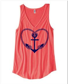 Womens Nautical ANCHOR Heart Print Bella Flowy Tank Top S M L XL Made in USA