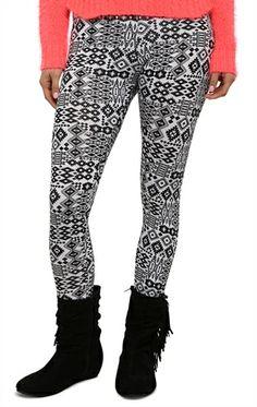Deb Shops Black and White #Tribal Print #Legging $10.43