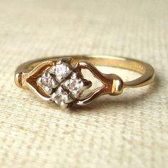 Vintage Diamond Ring, Art Deco Style Engagement Ring, 9k Gold and Diamond Engagement