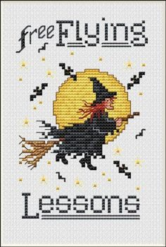 """Free Flying Lessons"" is the title of this cross stitch pattern from Sue Hillis Designs.  The cross stitch pattern can be stitched with DMC or Sullivan's threads."