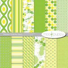 Digital Scrapbook Paper Pack  --  Salina Lemon Lime  -  INSTANT DOWNLOAD