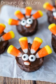 Brownie Turkeys made with Candy Corn! | crazyforcrust.com #desserts #dessertrecipes #food #sweet #delicious #yummy