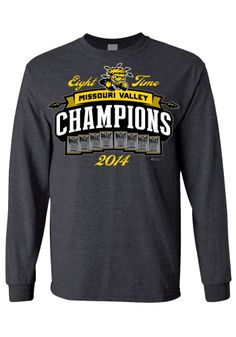 Wichita State Shockers T-Shirt - Charcoal WSU 8 Time Long Sleeve Tee http://www.rallyhouse.com/shop/wichita-state-shockers-8090151 $28.99