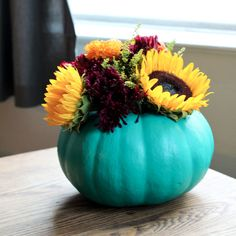 Great turquoise painted pumpkin. Make a Vase From a Pumpkin