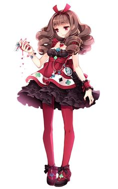 anim girl, alice in wonderland, outfit, dresses, the queen