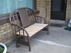 DIY old metal headboard and footboard and some cedar planks