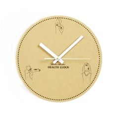Wooden Creative White Collar Health and Biological Wall Clock