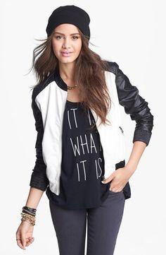 Wear now, wear later: faux leather colorblock jacket.