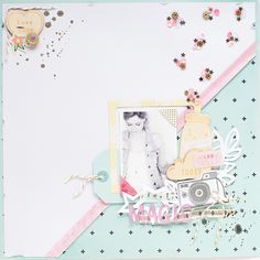 #papercraft #scrapbook #layout.  Jessica Lohof. Slightly off-centre diagonal half/half LO. And those little clusters of sequins!