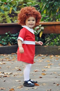 "Little Orphan Annie Halloween costume...oh my goodness.  This makes me want to burst into ""the sun will come out tomorrow...""  annie was a huge part of my childhood :). @Ruth Hanley"