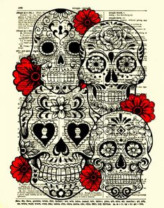 Sugar Skull Art, Sugar Skull Collage, Dictionary Art Print, Wall Decor, Wall Art, Day of the Dead, 024. $10.00, via Etsy. sugar skull art, collage art, sugar skulls art, sleev, skull collage