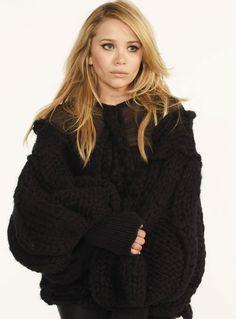 sweater, fashion, olsen twins, cat eyes, style, ashley olsen, beauti, hair, chunky knits