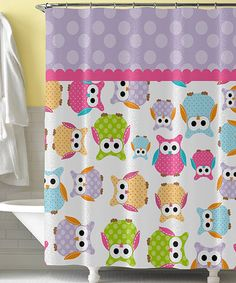 Purple & Pink Owl Shower Curtain