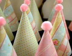 party hats made from scrap book paper! cute idea!!