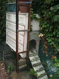 A dresser becomes a chicken coop