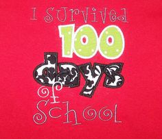 I Survived 100 days of School t shirt 100th by trendyembroidery, $20.00