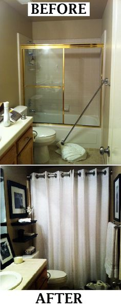 Ditch the glass sliders. Add a curved rod and shower curtain, paint and hang art. Simple and transformational.
