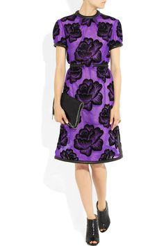 Christopher Kane | Leather-trimmed flocked tulle dress | NET-A-PORTER.COM