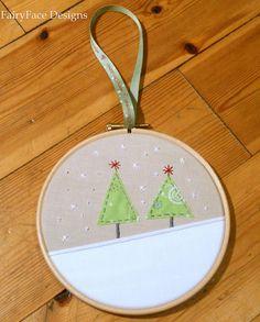 Christmas trees hoop ornament by Sarah @ FairyFace Designs