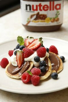 Pikelets with Nutella and Fresh Berries Recipe - Valentine's Day Breakfast Recipe