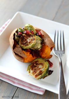 Sweet Potato with Roasted Brussel Sprouts & cranberries