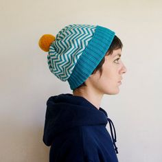 Chevron Knit Hat Wool Slouchy Beanie Teal & White by SourpussKnits, $48.00