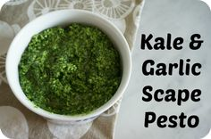 A simple, healthy and family friendly recipe for kale and garlic scape pesto #pesto #recipe
