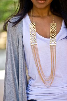 Multi chain necklaces.