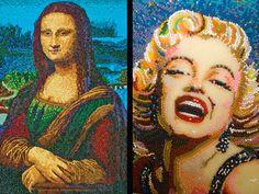 Mona Lisa de Leonardo DaVinci e retrato de Marilyn Monroes recriados com jujubas