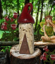 Tiny castle fairy house in the enchanted fairy garden forest.