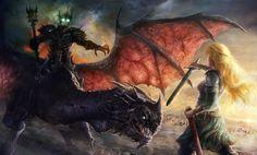 the lord, ring, fan art, dragons, eowyn, wallpapers, tolkien, middl earth, sword