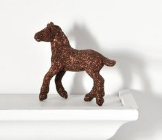 Rustic Horse Glittered Brown Farm Table Decoration by wishdaisy