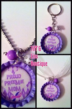 Proud Preemie Mom and Dad BottleCap Necklace and Keychain on Etsy, $5.50