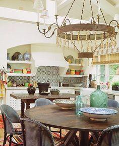 interior design, back splashes, color, small kitchens, tile, range hoods, kathryn ireland, round tables, open shelving