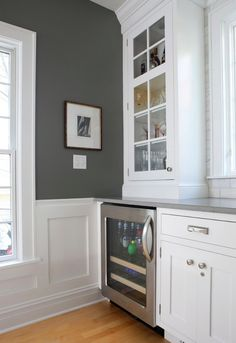 wall colors, idea, paint color, chelsea gray, gray walls, benjamin moore, white cabinets, normandy, white kitchens