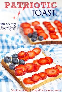 Patriotic Toast Recipe via Kara Allen | Kara's Party Ideas | KarasPartyIdeas.com Great for the 4th of July, Memorial Day, Labor Day and More! Breakfast, Lunch or Dinner :)