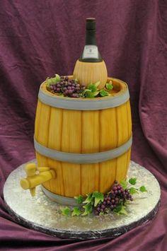 Wine and barrel cake