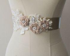 Gold Bridal Belt Wedding Flower Sash Bridal Pearl Rhinestone  Beaded Belts Sashes on Etsy, $40.00
