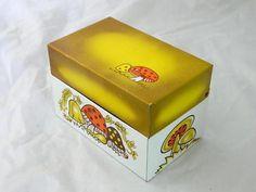 Recipe Tin Merry Mushroom 70s 80s Kitchen Decor Trinket Box Brown Hippie Kitsch