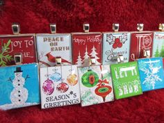 Have a Jolly Christmas! Handmade Scrabble Tile Pendants by Mango and Lime Design.