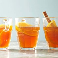 Sip the sweet flavors of tea, vanilla, and citrus in this warming holiday drink. More tasty drinks: http://www.bhg.com/recipes/party/low-cal-cocktails/?socsrc=bhgpin122212orangetea