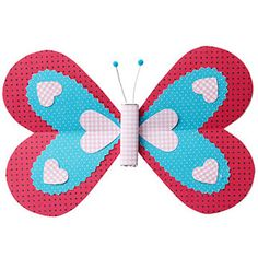 """Butterfly Valentine"" The wings of this butterfly project are made entirely out of heart shapes and would be ideal to use during February for a Valentine's Day bulletin board display.  Use a title that combines flying and love such as ""We're Flying High With Books That We Love This February!"" for the title for a February reading bulletin board display.  From:  Parents Animal Shaped Valentine's Day Cards"