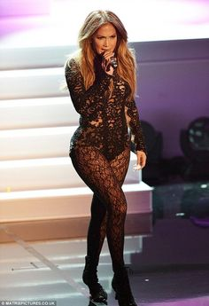 Black Lace Catsuit worn By Jenifer Lopez. Buy your Catsuit for dance from DCUK Dance Clothes.