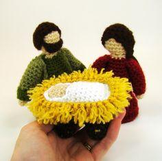 removable baby Jesus in manger crochet