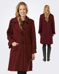 Lovely washable heather, faux felted wool coat featuring a classic notched collar with a ring and toggle closure, generous patch pockets and contrasting black stitching. #MadeinUSA www.nortonsusa.com