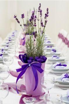 purple themed wedding   handmade wedding- lavender centerpiece