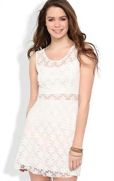 Deb Shops Daisy Crochet Lace Skater Dress with Illusion Waist $26.25
