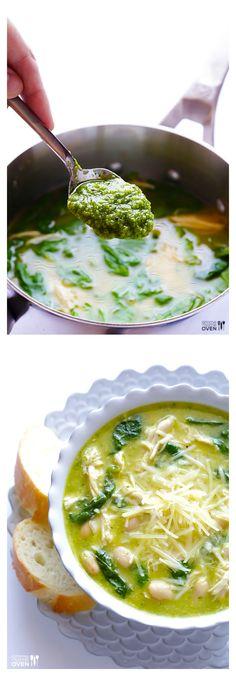 5-Ingredient Pesto Chicken Soup | gimmesomeoven.com #soup #chicken