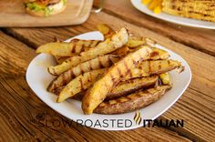 Seasoned Grilled Fries from theslowroasteditalian.com #grilling #sides