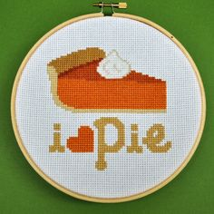 How could anyone not? :) #pie #food #Thanksgiving #cross_stitch #stitchery #crafts